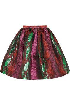 House of Holland|Metallic snake-jacquard mini skirt|NET-A-PORTER.COM