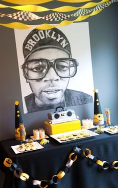 Old Skool Hip Hop themed party OMG! I love this table and the Spike Lee sketch