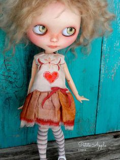 Blythe doll outfit OOAK Beating heart vintage by PetiteAppleShop