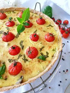 Quiche végétalienne aux tomates cerises, champignons et basilic (tofu soyeux)