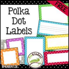 Free polka dot classroom labels by karen cox Classroom Labels Free, Preschool Labels, Classroom Rules, Classroom Displays, Classroom Themes, Classroom Organization, Kindergarten Labels, Classroom Hacks, Classroom Management