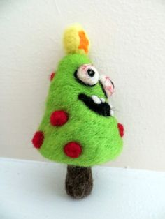 Zombie Christmas Tree - Needle Felted Ornament - Made to Order. $25.00, via Etsy.