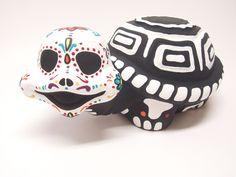 Day of the Dead (dia de los muertos) Garden ceramic Turtle. $35.00, via Etsy.