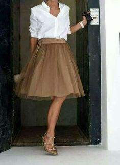 9145d8cac3b Crisp white shirt goes with everything. Skirt Outfits