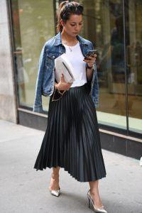 Veste en jean + jupe plissée longue - inspiration mode femme petite taille b9fc9df778e