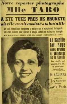 Newspaper announcement of Gerda Taro's death in Spain