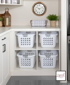 Wearing comfy clothes all day doesn't stop the laundry from piling up! Dedicate a basket and shelf for each family member to keep the laundry room clean, spacious and clutter free. Schedule a free virtual consultation to see for yourself. Laundry Room Baskets, Laundry Basket Storage, Mudroom Laundry Room, Laundry Room Remodel, Small Laundry Rooms, Laundry Room Organization, Laundry Room Design, Laundry Room Inspiration, Küchen Design