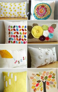 Cute DIY pillows! Love love love. - these are not DIY, though maybe you could. they are handmade, by a seller on Etsy (who I've linked properly). warning though, there is way too much cuteness in  her shop!