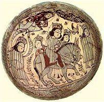 Seljuk (Turkish) period polychrome bowl depicting royalty circa 1187