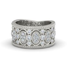 14K White Gold Ring with Diamond | Renaissance Band | Gemvara