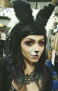 Maria Macabre - Evil Bunny, Halloween Makeup, Red Contact Lenses