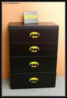 Batman Room Decor, Batman Wall Art, Batman Bedroom, Batman Nursery, Diy Furniture Renovation, Furniture Makeover, Cama Do Batman, Kids Furniture, Painted Furniture