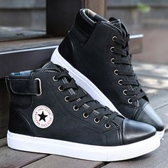 Hot Men Shoes PU Leather 2016 Autumn Winter Men High Top Casual Canvas Shoes Sapatos Man Fashion Buckle Leather Flat Boots #shoes, #jewelry, #women, #men, #hats