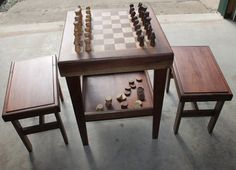 Small chess table for childrenRESERVED by QuattlebaumWoodworks, $175.00