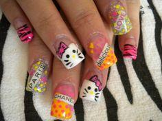 Colorful Hello Kitty Nail Art
