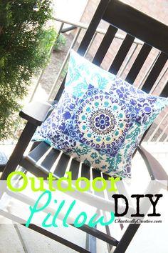 Make an Outdoor Pillow out of a Tablecloth!  www.chaoticallycreative.com  #pillows  #outdoorliving