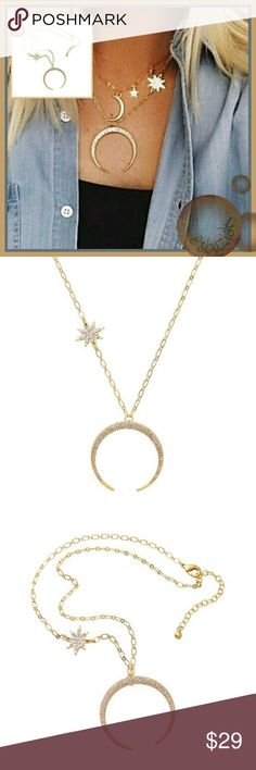 Dreamy Crescent Moon and Star Crystal Necklace Dreamy Moon and Stars Pendant Necklace featuring a blaze of Austrian Crystals. Lenght is approximately 20 inches. Materials: 18K gold plating and Austrian crystals. New with tags. Jewelry Necklaces