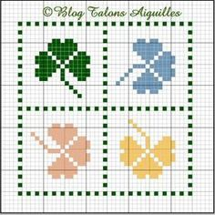 cross-stitch clovers biscornu ... no color chart, just use pattern chart colors as your guide.. or choose your own colors.