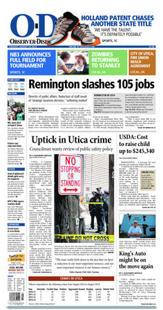 The front page for Tuesday, Aug. 19, 2014: Remington slashes 105 jobs