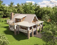 """Beautiful Cottage House plan  - love the balconies and the drive-under.  The house definitely reminds me of """"business in the front, party in the back"""" w/ its homey and polite look in front but it's more-fun-than-i-seem attitude in the back...what did i just say?"""