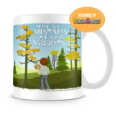 "The Bob Ross - Happy Accidents Mug is our latest and officially licensed mug inspired by the ""happy trees"", ""almighty mountains"" and the patient teachings of Bob Ross. This mug was designed by PeachyA"