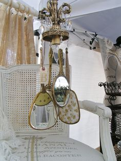 make this gold vintage hand mirror lamp using old lamp parts and crystals...
