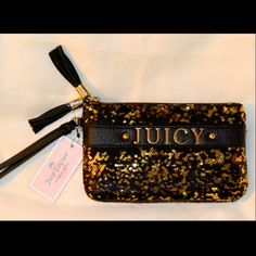 "Juicy Couture wristlet wallet purse clutch NWT NWT Juicy Couture double zipper purse, wristlet with black and gold sequins.  It has ""JUICY"" in 3-D gold letters across front of bag and black tassels on zippers.  MSRP $55 (p4) Juicy Couture Bags Clutches & Wristlets"