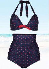 Blue Fold Design Polka Dot Printed Swimwear
