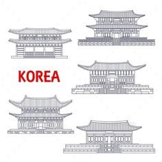 Buy Five Grand Palaces of South Korea Thin Line Symbol by VectorTradition on GraphicRiver. Korean five grand palaces of Joseon Dynasty thin line icons for travel or asian architecture theme design with Changd. Line Sketch, Line Drawing, Mysterio Spiderman, Castle Sketch, Castle Illustration, Korea Design, Asian Architecture, South Korea Travel, Background Drawing