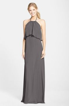 Amsale Chiffon Halter in Grey http://shop.nordstrom.com/s/nouvelle-amsale-chiffon-halter-gown/3960160?origin=category-personalizedsort&contextualcategoryid=0&fashionColor=GREY&resultback=3868