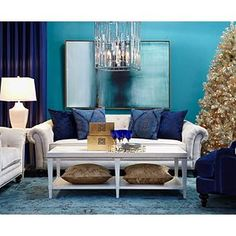 """Z Gallerie """"Another Way"""" painting in blue / peacock living room."""