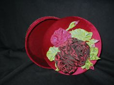 One of a kind red velvet covered hat box & ribbon by PresentIdea, $35.00