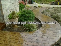 Beautiful Stamped and Decorative Concrete Patios in Cincinnati Ohio? We have nine Stamped Concrete Patios, fully furnished so you can see what your patio will look like before it's installed. Garden Paths, Lawn And Garden, Garden Steps, Outdoor Landscaping, Outdoor Gardens, Landscaping Ideas, Brick Sidewalk, Sidewalk Ideas, Concrete Walkway