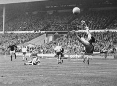 England goalkeeper Gordon Banks saves a shot from Denis Law in an England Vs Scotland Match in 1967