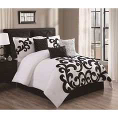 Bedroom: 9 piece empress cotton black/white comforter set queen intended for White Comforter Set Queen, Black White Bedding, Elegant Comforter Sets, Bedding Sets, Gray Comforter, White Duvet, King Comforter, Style At Home, My New Room