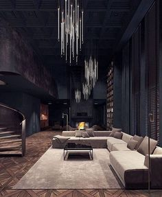 Halloween style!! Wow! Perfect modern Gothic Glam cool, dark and elegant living room - should be the set for a movie! Look at the chandeliers!