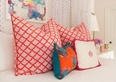 eclectic mix of pillows via i suwannee: a teenage dream bedroom in domino magazine