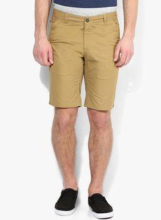 Buy Parx Khaki Solid Regular Fit Short for Men Online India, Best Prices…