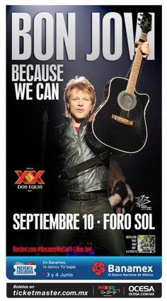 """OCESA Entretenimiento informa que Bon Jovi regresa al Foro Sol el próximo 10 de septiembre, evento para el cual pondrá en preventa los boletos los días 3 y 4 de junio por medio de Ticketmaster y en las taquillas del inmueble.  Se presentará con """"Because We Can – The Tour"""" para interpretar canciones de su nuevo álbum, What About Now, sin descontar clásicos como """"Livin' on a Prayer,"""" """"You Give Love a Bad Name,"""" """"Who Says You Can't Go Home,"""" """"It's My Life,"""" y muchos más."""