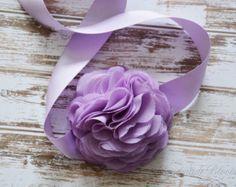 Grey Bridal Sash Belt Silver Chiffon Flowers by HandMadeBloom