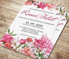 Printable Wedding Invitation Floral wedding invite Printable