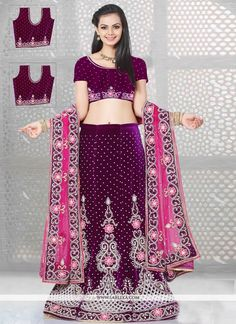 Add a adolescent burst of shade in your wardrobe with this purple velvet and net a line lehenga choli. The ethnic embroidered and resham work in the attire adds a sign of splendor statement with a loo...