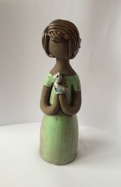 60s ceramic figurine statue / girl holding a bird/ Handmade Elbogen / Sweden Scandinavia by PotsAndLamps on Etsy