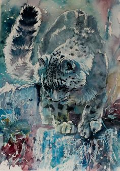 Snow leopard - original watercolour wildlife painting by KAB 14 x 20 inch