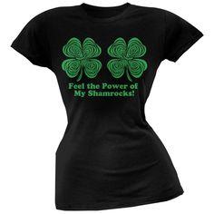 St. Patricks Day - Feel the Power Hypnotic Shamrock Juniors V Neck Soft T-Shirt