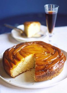 Mango upside-down cake - A great twist on the traditional pineapple upside-down cake, this mango upside-down cake had a soft sponge and deliciously sticky caramel topping. A perfect hot pudding with pouring cream or tea time treat.