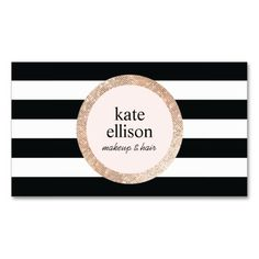 Rose Gold Sequin Black and White Striped Beauty Business Card