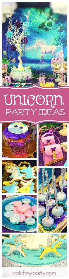 Don't miss this magical Unicorn birthday party! The unicorn cookies are adorable!! See more party ideas and share yours at CatchMyParty.com