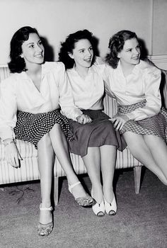 Judy Garland with her sisters Virginia (left) and Mary Jane (middle), ca. 1940.