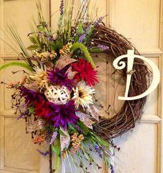 Fall Grapevine Wreaths | Floral Fall Grapevine Wreath Fall Grapevine by…